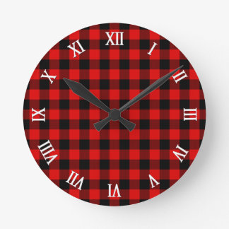 Traditional Red Black Buffalo Check Plaid Pattern Round Clock
