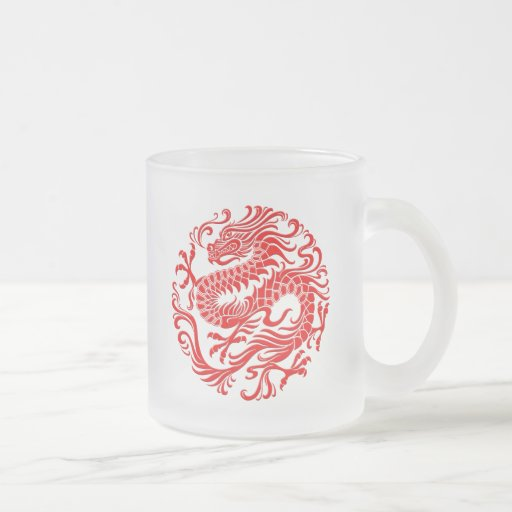 Traditional Red Chinese Dragon Circle Coffee Mugs