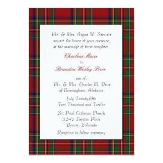 Traditional Royal Stewart Plaid Wedding Invitation
