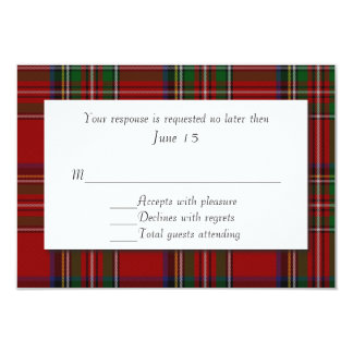 Traditional Royal Stewart Plaid Wedding RSVP Card