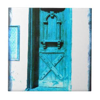 Traditional Rustic Blue Door Santorini GREECE Ceramic Tiles