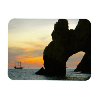 Traditional Sailboat At Sunset,Cabo Rock Arches Rectangular Photo Magnet
