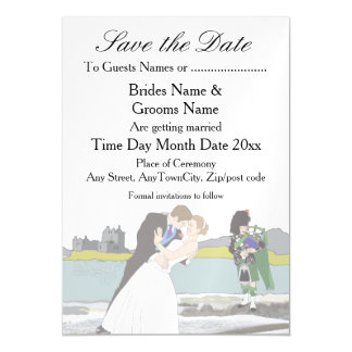 Traditional Scottish and Celtic Wedding Theme Magnetic Card