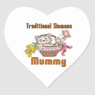 Traditional Siamese Cat Mom Heart Sticker