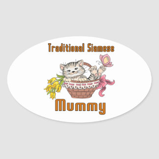 Traditional Siamese Cat Mom Oval Sticker