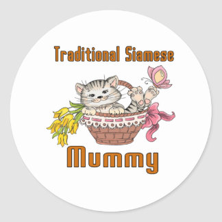 Traditional Siamese Cat Mom Round Sticker