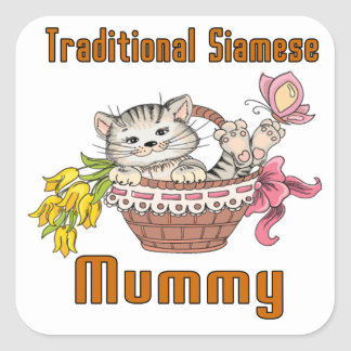 Traditional Siamese Cat Mom Square Sticker