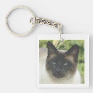 Traditional Siamese Cat Square Key Chain