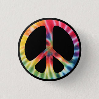 Traditional Sixties Peace Symbol with Tie-Dye 1 Inch Round Button