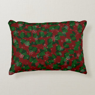 Traditional Snowflakes and Holly Decorative Pillow