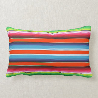 Traditional Spanish Serape Fiesta Mexican Blanket Lumbar Pillow