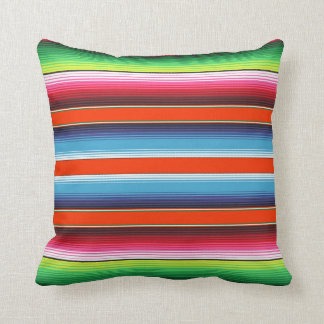 Traditional Spanish Serape Fiesta Mexican Blanket Throw Pillow
