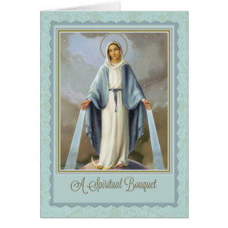 Traditional Spiritual Bouquet Virgin Mary  Card