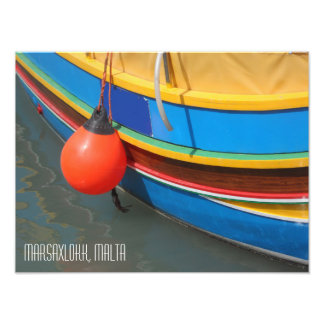 Traditional Striped Fishing Boat Marsaxlokk Malta Art Photo