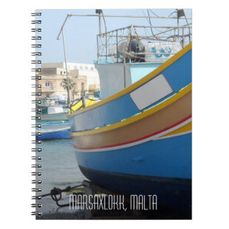 Traditional Striped Fishing Boat Marsaxlokk Malta Note Books