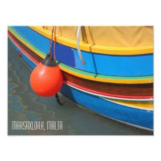 Traditional Striped Fishing Boat Marsaxlokk Malta Photo Print