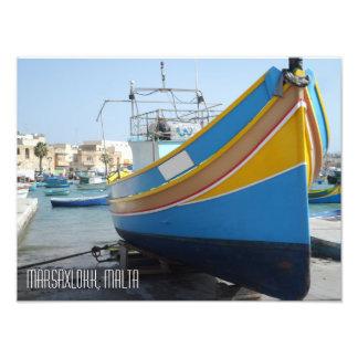 Traditional Striped Fishing Boat Marsaxlokk Malta Photograph