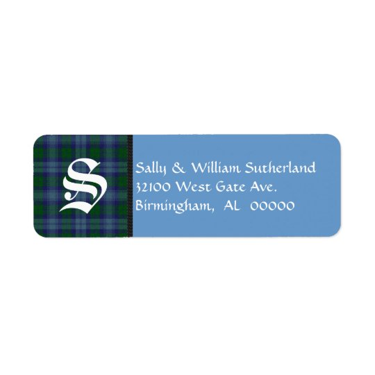 Traditional Sutherland Tartan Plaid Monogram