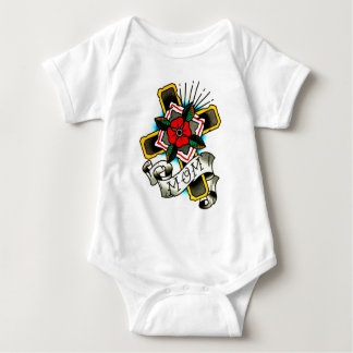 Traditional Tattoo MOM Cross and Flower Watercolor Shirt