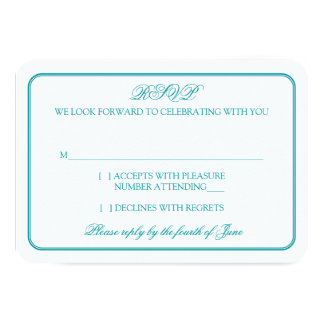 """Traditional Teal and White Wedding RSVP Reply 3.5"""" X 5"""" Invitation Card"""