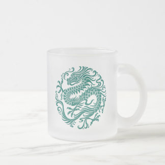 Traditional Teal Blue Chinese Dragon Circle 10 Oz Frosted Glass Coffee Mug