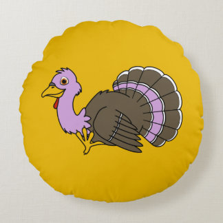 Traditional Thanksgiving Turkey in Light Purple Round Pillow