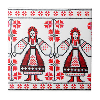 Traditional Ukrainian embroidery ukraine girls Tile