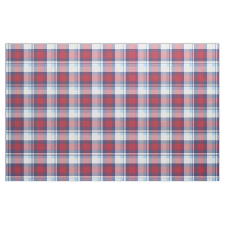 Traditional USA Red White Blue Tartan Pattern Fabric