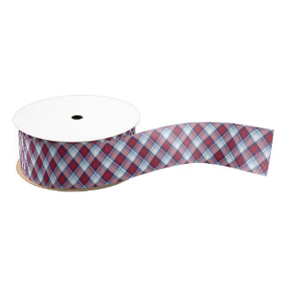 Traditional USA Red White Blue Tartan Pattern Grosgrain Ribbon