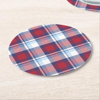 Traditional USA Red White Blue Tartan Pattern Round Paper Coaster