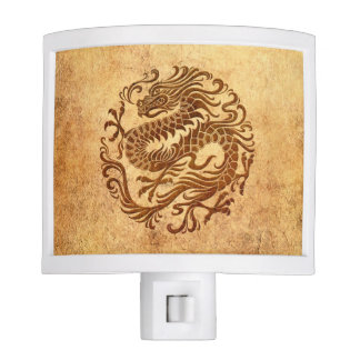 Traditional Vintage and Worn Chinese Dragon Circle Night Lite