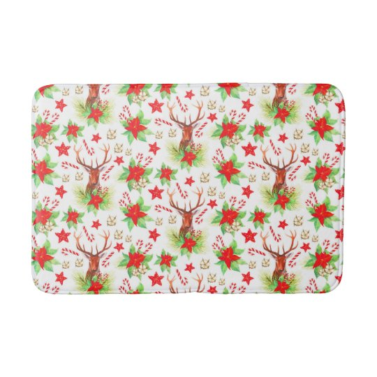 Traditional Vintage Christmas Pattern Bath Mat