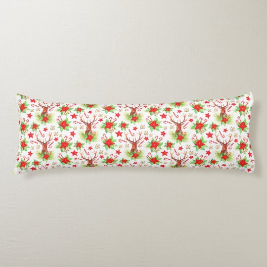 Traditional Vintage Christmas Pattern Body Pillow