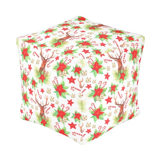 Traditional Vintage Christmas Pattern Pouf