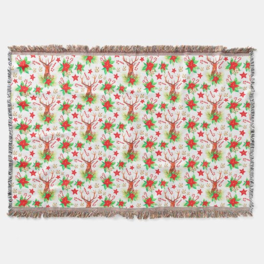 Traditional Vintage Christmas Pattern Throw Blanket