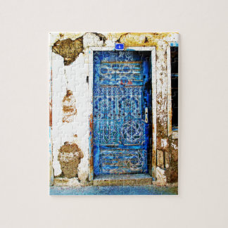 Traditional Vintage Old Greece Blue Door Jigsaw Puzzle