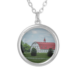 Traditional White and Red Barn Silver Plated Necklace