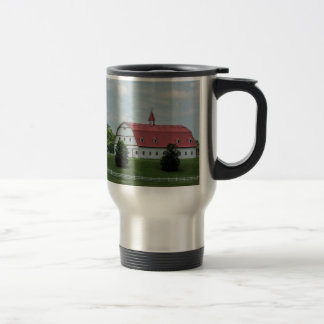 Traditional White and Red Barn Travel Mug