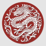 Traditional White and Red Chinese Dragon Circle Round Sticker