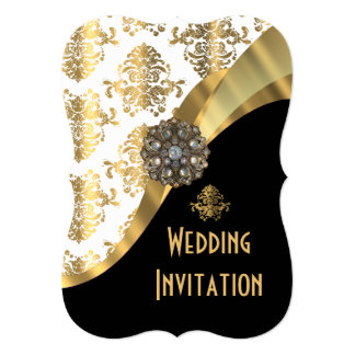 Traditional white black and gold damask wedding card