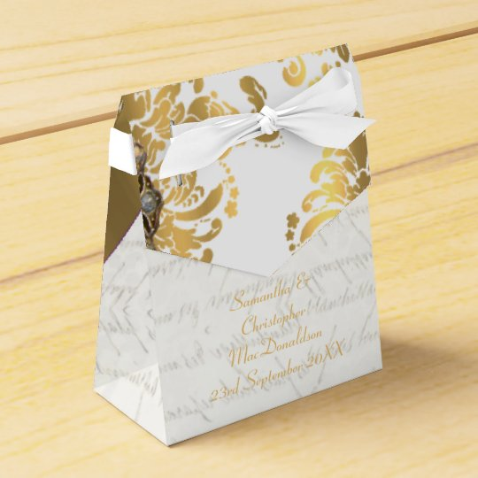 Traditional white parchmentand gold damask wedding party favor boxes