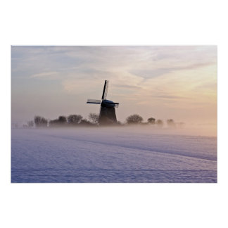 Traditional windmill in wintertime in Netherlands Poster