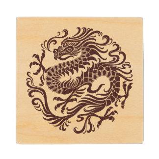 Traditional Wood Chinese Dragon Circle Maple Wood Coaster