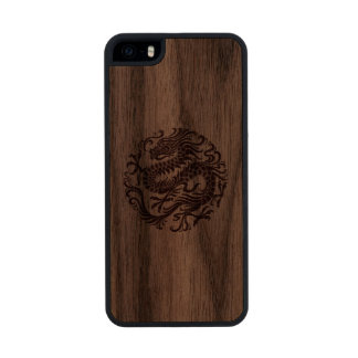 Traditional Wood Chinese Dragon Circle Wood iPhone SE/5/5s Case