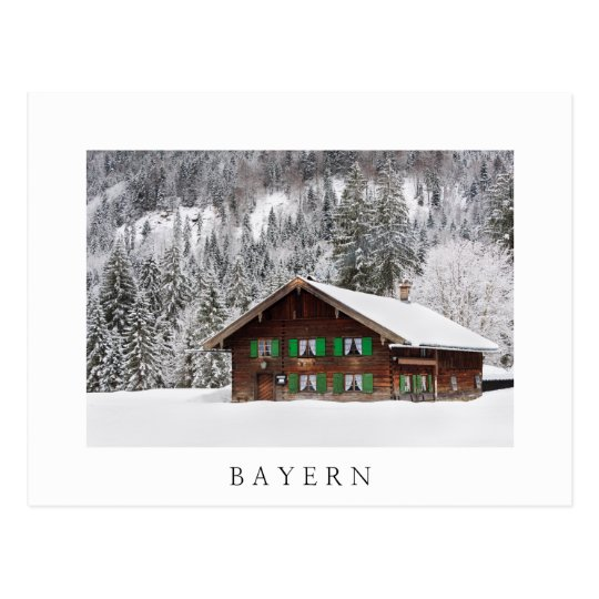 Traditional wooden house in Bayern white postcard
