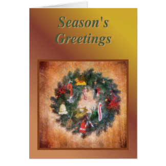 Traditional Wreath Painting Card