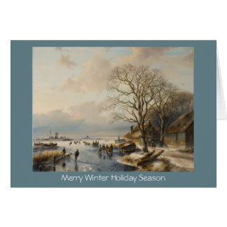 Traditional Xmas winter landscape New Year card
