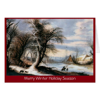 Traditional Xmas winter lanscape New Year greeting Card