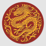 Traditional Yellow and Red Chinese Dragon Circle Round Sticker