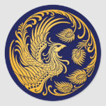 Traditional Yellow Phoenix Circle on Blue Round Sticker